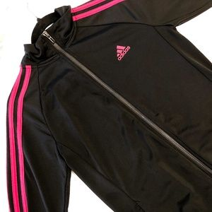 red on black adidas zip up